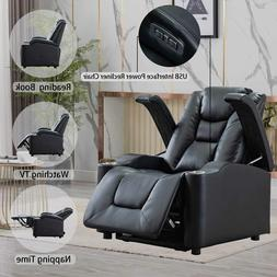 Power Recliner Chair W/USB Port Cup Holder Adjustable Headre