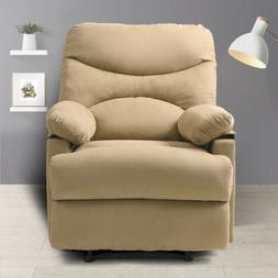 Massage Recliner with Heat and Beige Microfiber Vibrating Lo