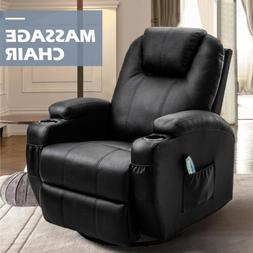 Ergonomic Leather Massage Chair Recliner Sofa Vibrating Heat