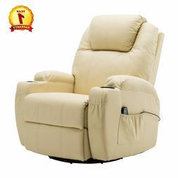 Modern Massage Recliner Chair Sofa PU Leather 360 Degree Swi