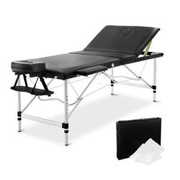 NEW Portable 3 Fold Adjustable Massage Table Chair Bed Alumi