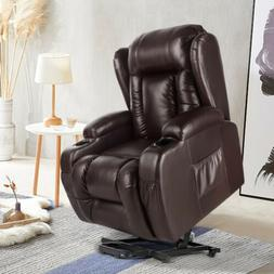 Oversize Leather Massage Recliner Chair Heated Rocking Vibra