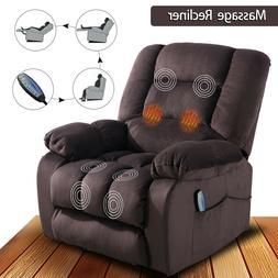 Fabric Massage Chair Sofa w/Heated Vibration Manual Recliner