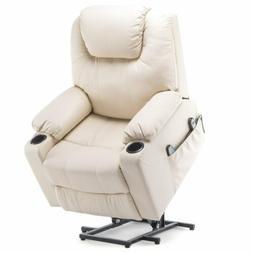 Reclining Massage Lift Chair Vibrating Heated Ergonomic Leat