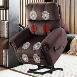 Power Lift Recliner Massage Chair With Heat & Vibration Fabr
