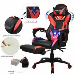 Massage Gaming Chair High-Back Ergonomic Pu Leather Racing C
