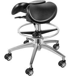 Twin Adjustable Saddle Chair Stool Leather Blood Circulation